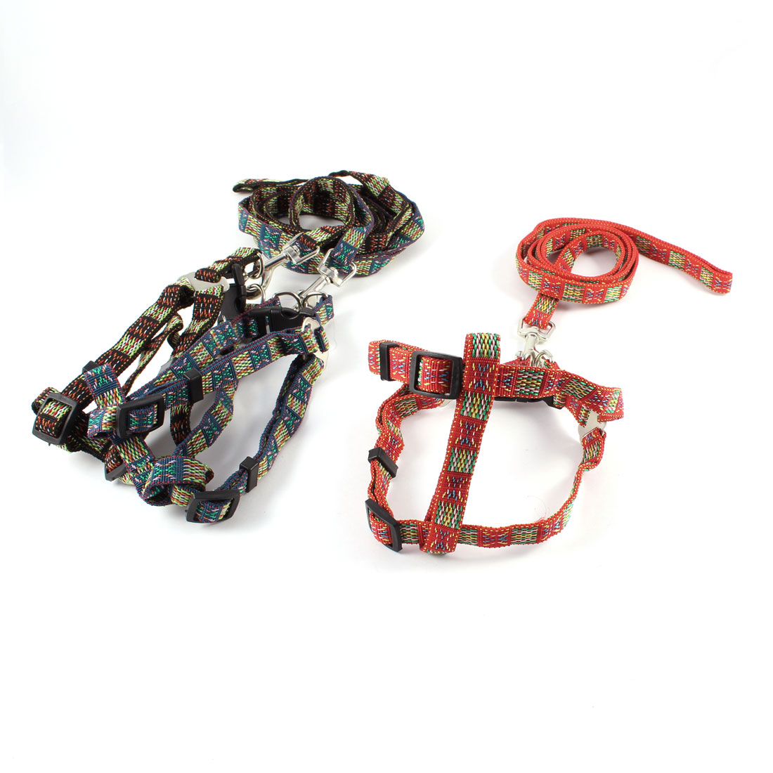 3 Pcs Multicolored Adjustable Dog Harness Leash Set w Swivel Clasp Hook