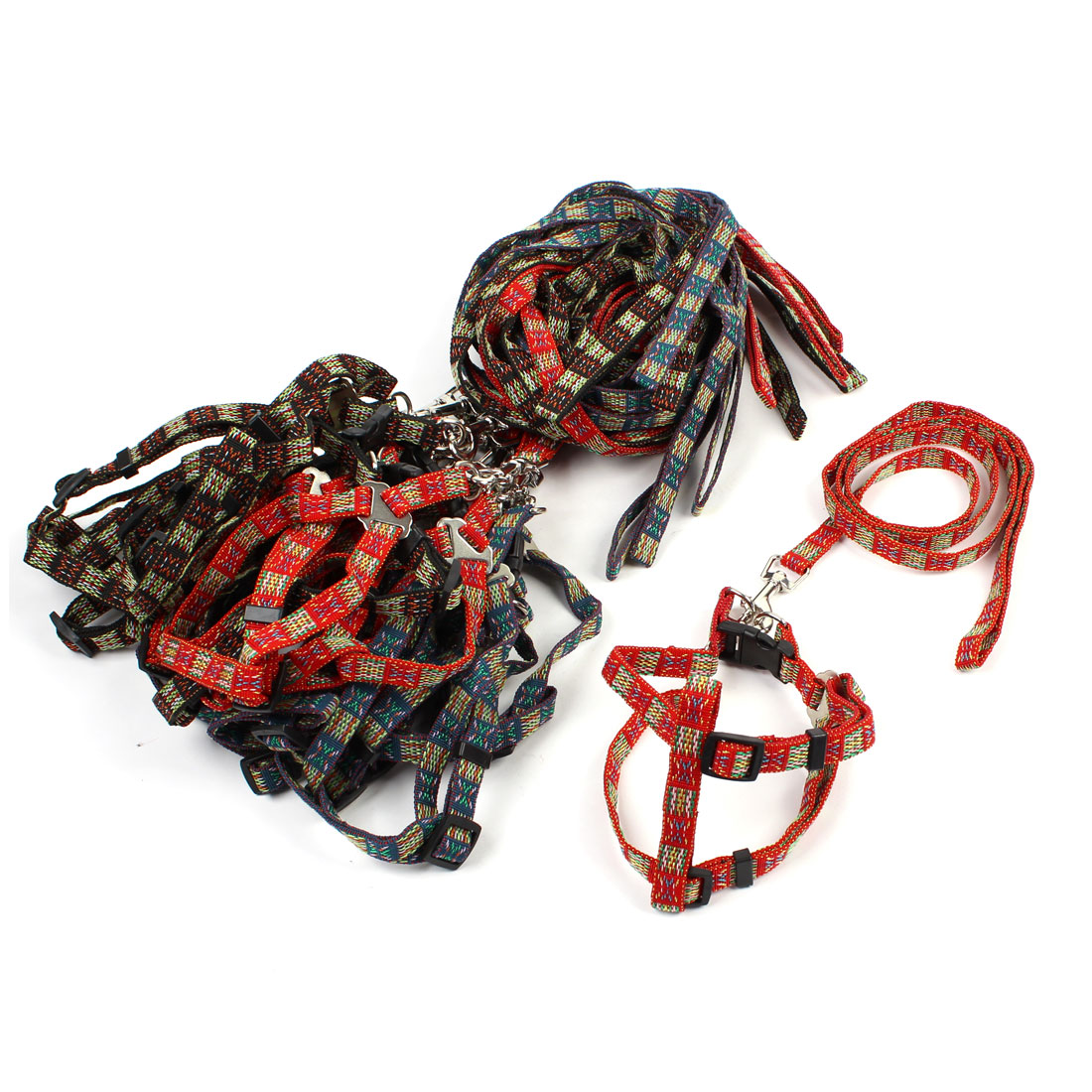 12 Pcs Assorted Color Nylon Strap Adjustable Dog Harness Leash w Metal Hook