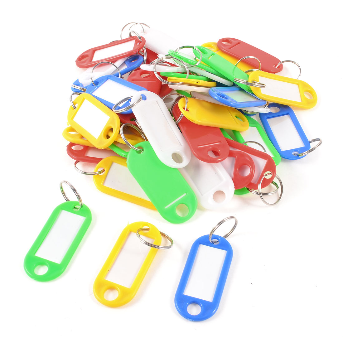 Storage Assorted Color Plastic Name Tag Badge Clip Holder Keyring 45 Pcs