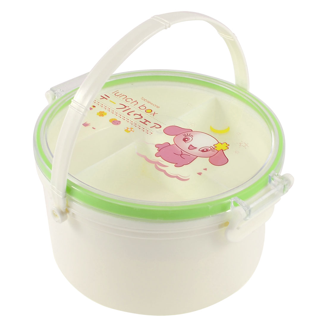 Household Detachable Lid 4 Compartments 2 Layers Lunch Box Green w Spoon Fork