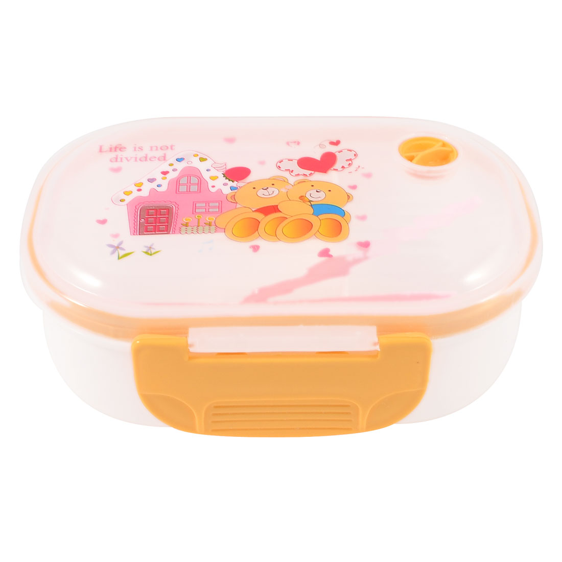 Portable Plastic Cartoon Bear Pattern Lunch Breakfast Box Pale Orange