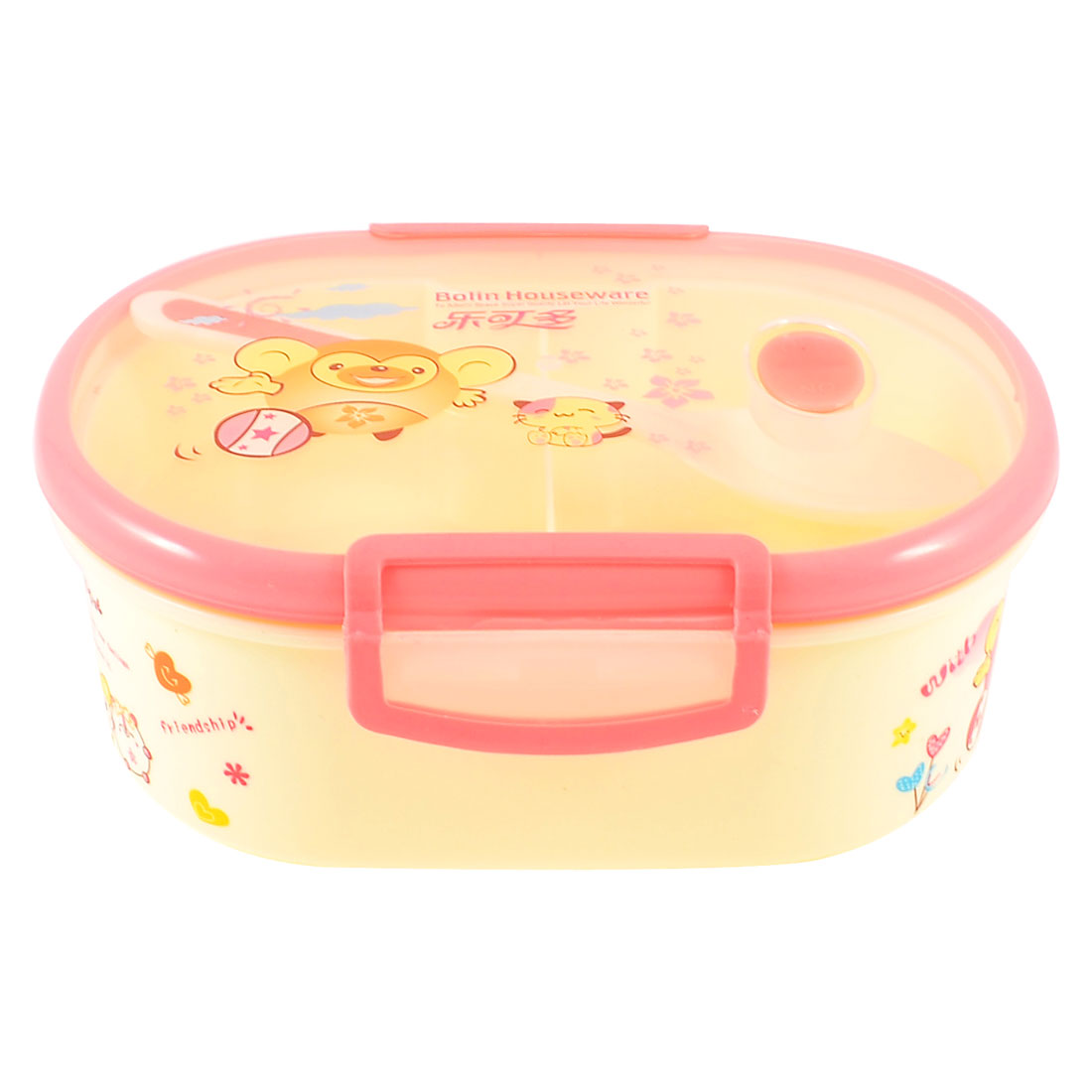 Kitchen Cartoon Printed Hole Deisgn Lunch Box Dinner Case Light Pink w Spoon