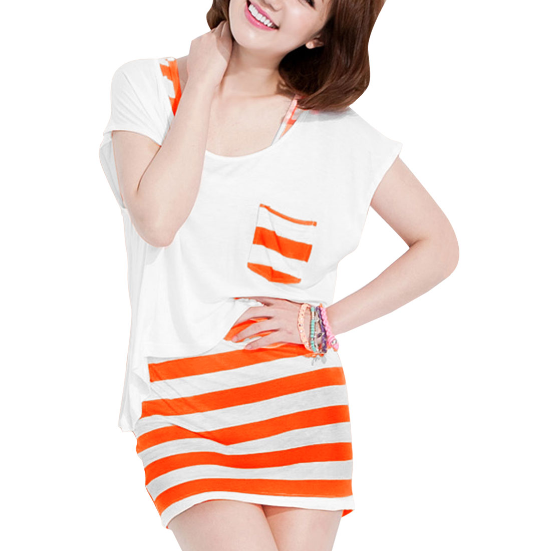 Women Boat Neck Irregular Hem Blouse w Sleeveless Stripes Printed Mini Dress Orange White XS