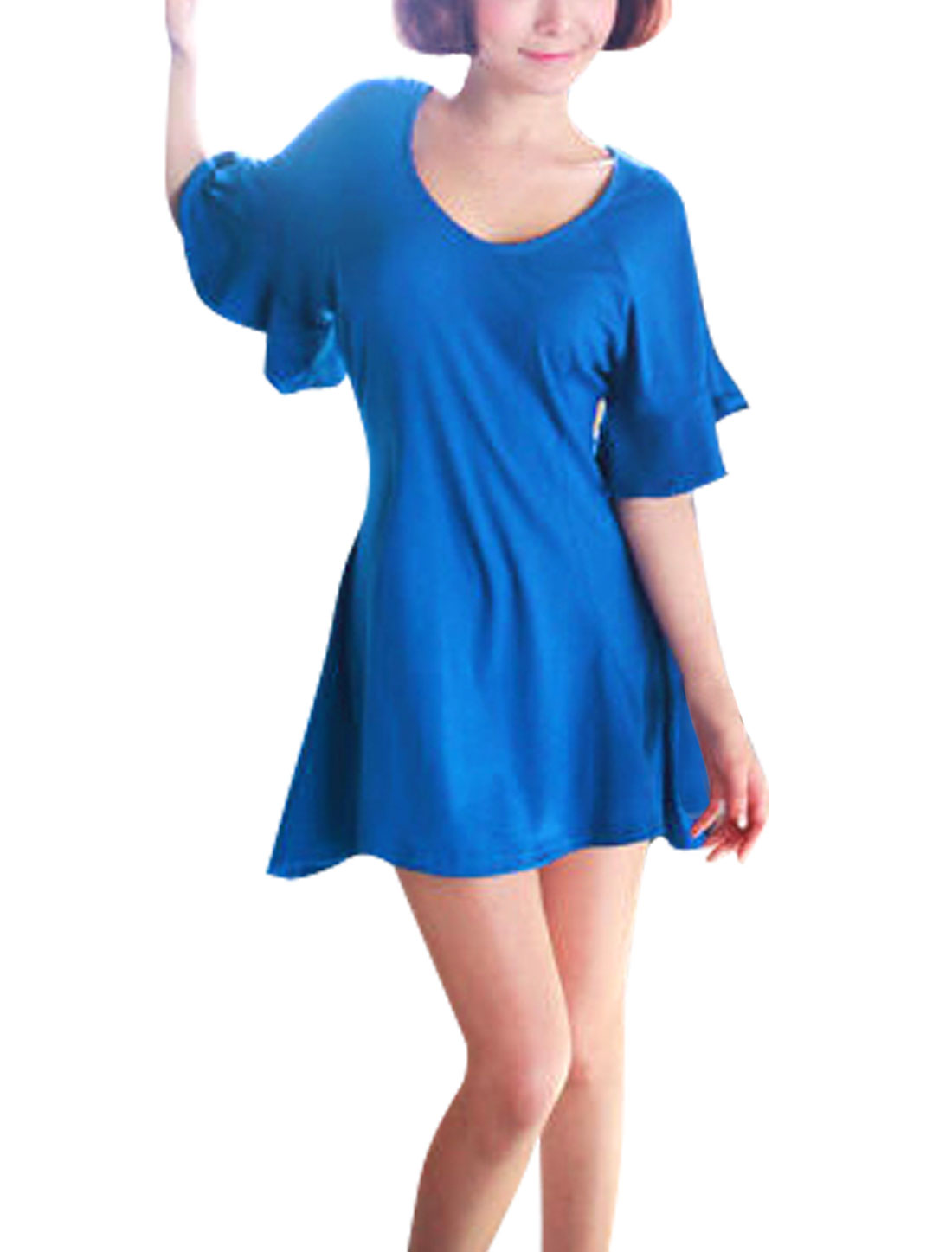 Ladies Chic Scoop Neck Short Bell Sleeve Pure Royalblue Mini Dress XS
