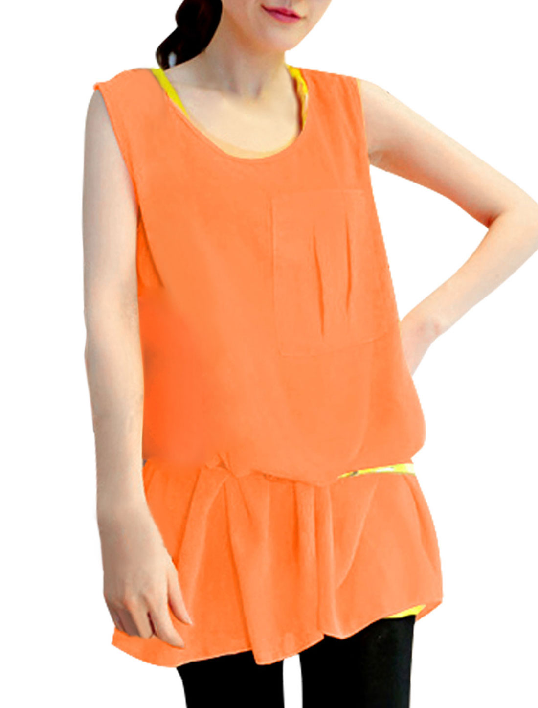 Ladies Sleeveless Smock & Round Neck Stretchy Tank Top Coral Yellow XS