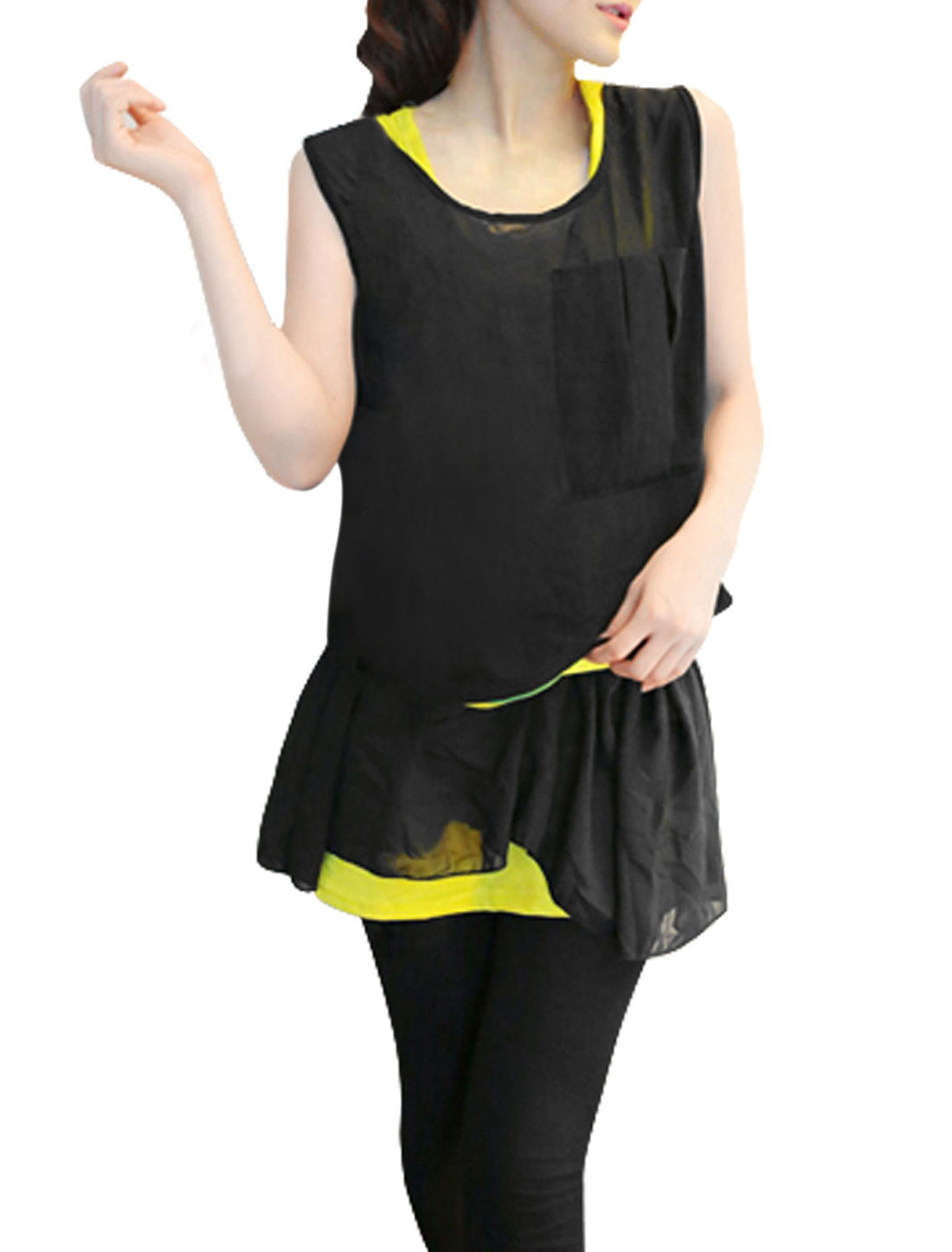 Ladies Pullover Smock & Sleeveless Stretchy Tank Top Black Yellow XS