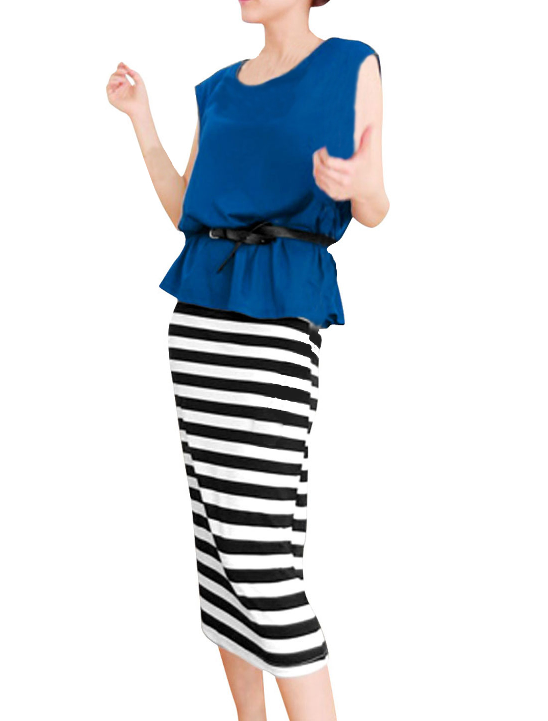 Lady Scoop Neck Stretchy Top w Stripes Prints Royal Blue Black Mid-calf Dress XS