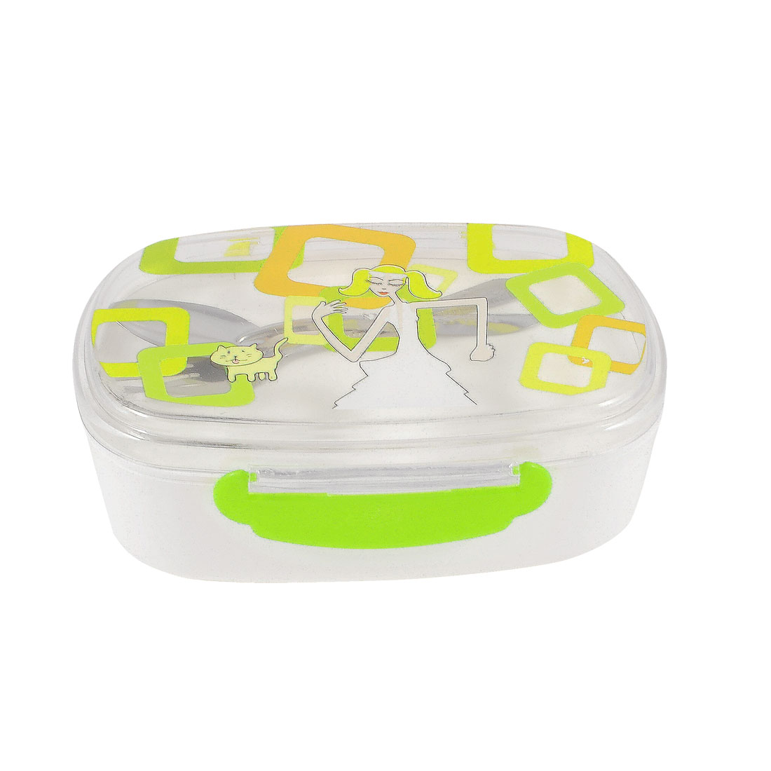 Kitchenware Green Clear Cartoon Lady Print Food Container Case Lunch Box