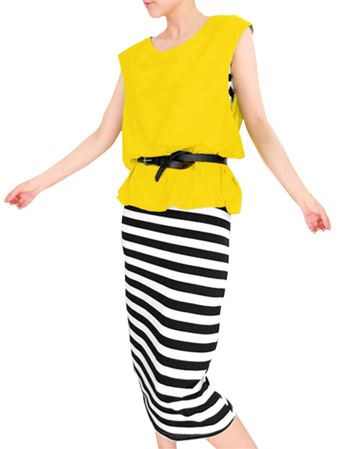 Lady Cozy Pullover Blouse w Scoop Neck Stripes Pattern Dress Yellow Black XS