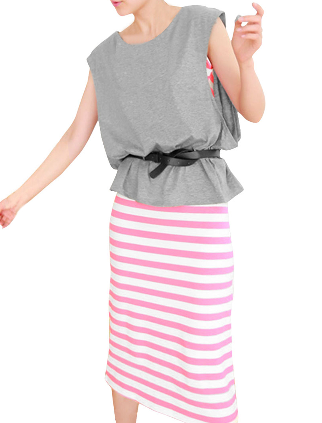 Ladies Sleeveless Loop Blouse w Stripes Pattern Decor Heather Gray Pink Dress XS