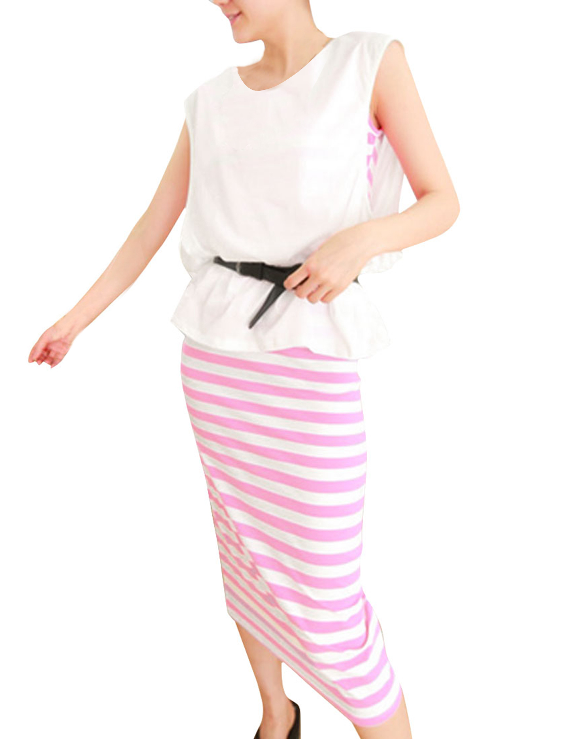 Women Scoop Neck Leisure Top w Slim Fit Stripes Prints Tank Dress White Pink XS