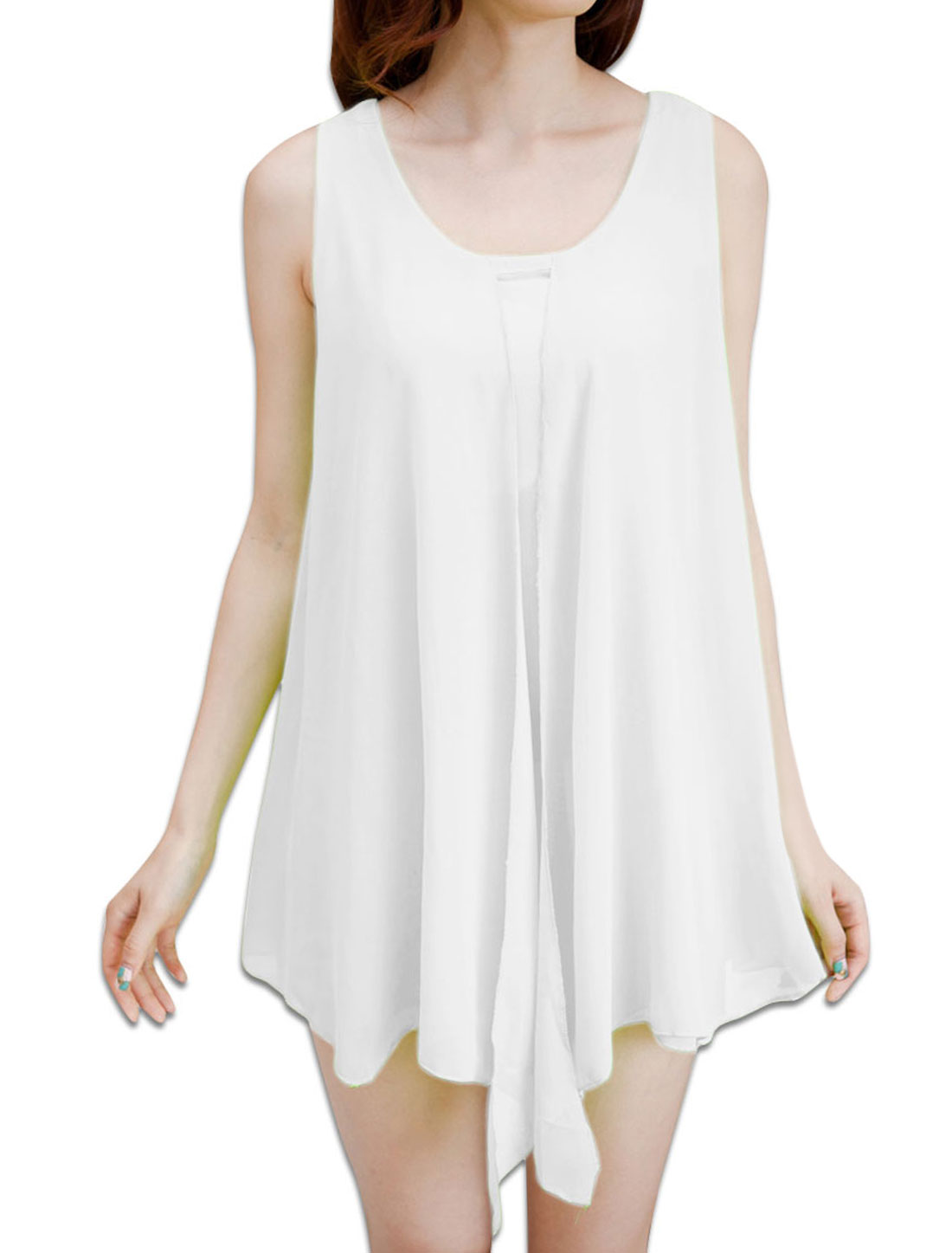 Women Softness Irregular Hem Sleeveless Tank Shirts White S