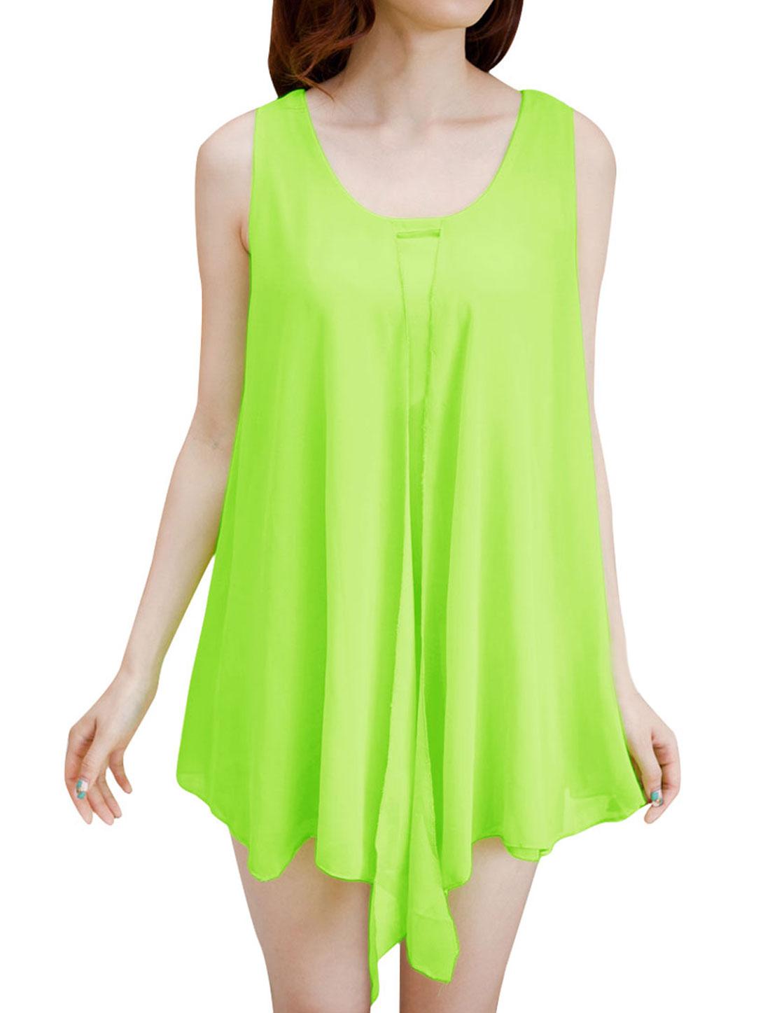 Lady Chiffon Elegant Sleeveless Modern Tops Blouses Lime S