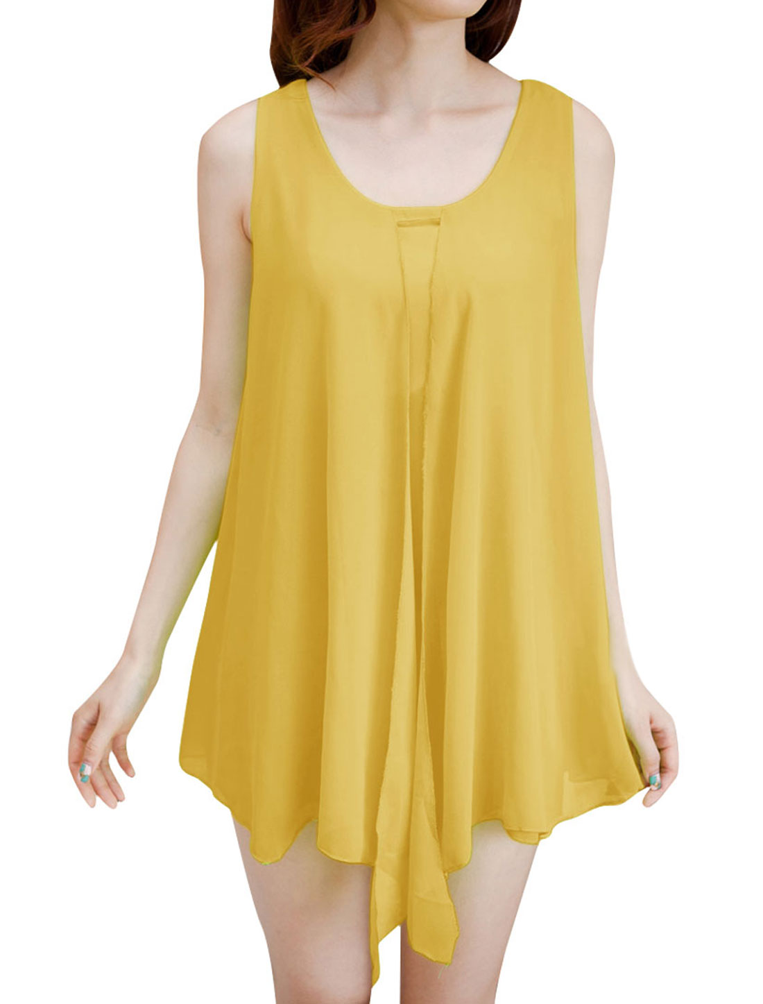 Woman Round Neck Dipped Chiffon Loose Chic Tunic Shirt Light Yellow S