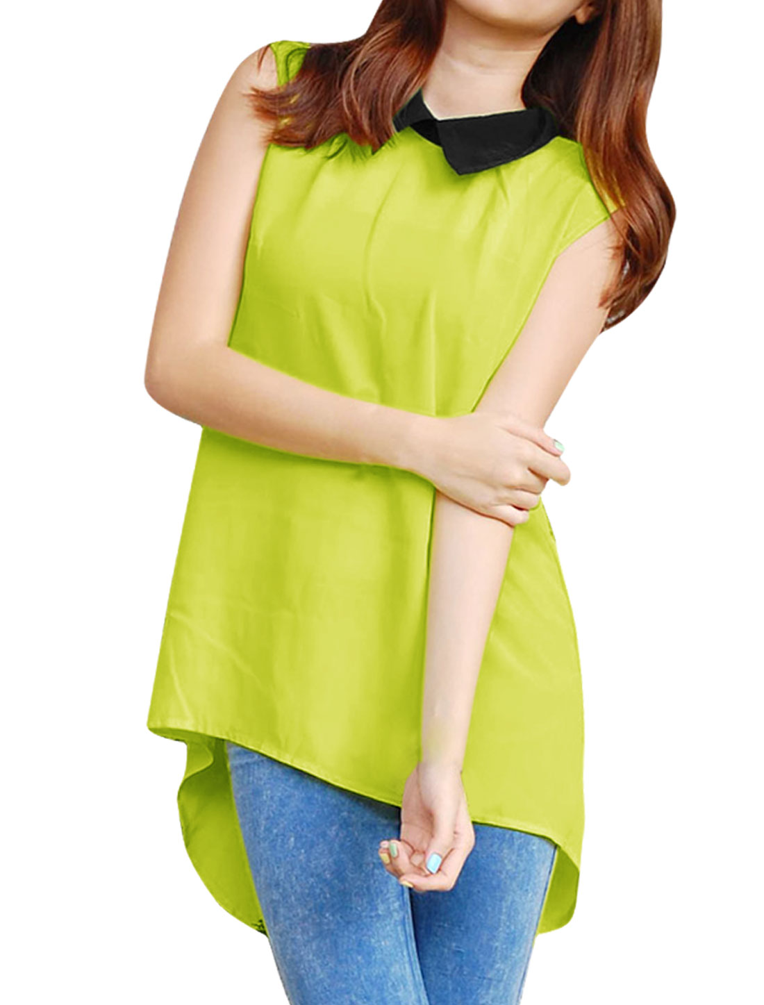 Lady High Low Hem Point Collar Button Back Tops Blouses Fluorescent Yellow S