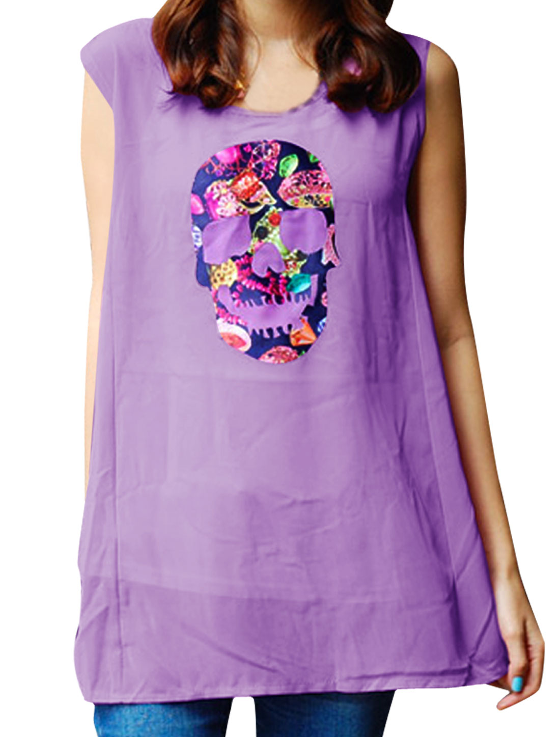 Ladies Skull Design Round Neck Chiffon Tunic Shirt Lavender S
