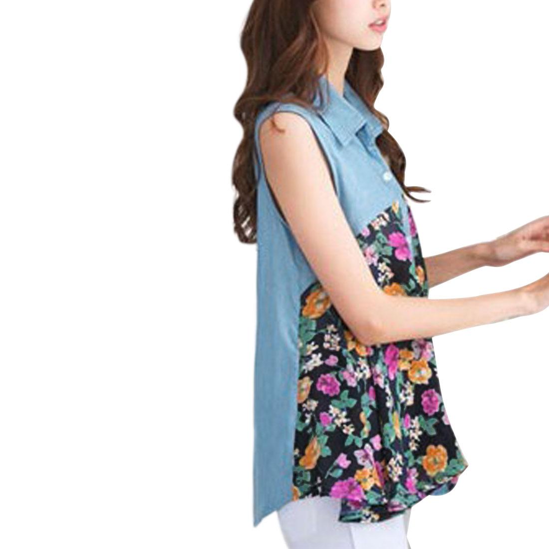 Women Point Collar Floral Pattern Sleeveless Design Blouse Dark Blue S