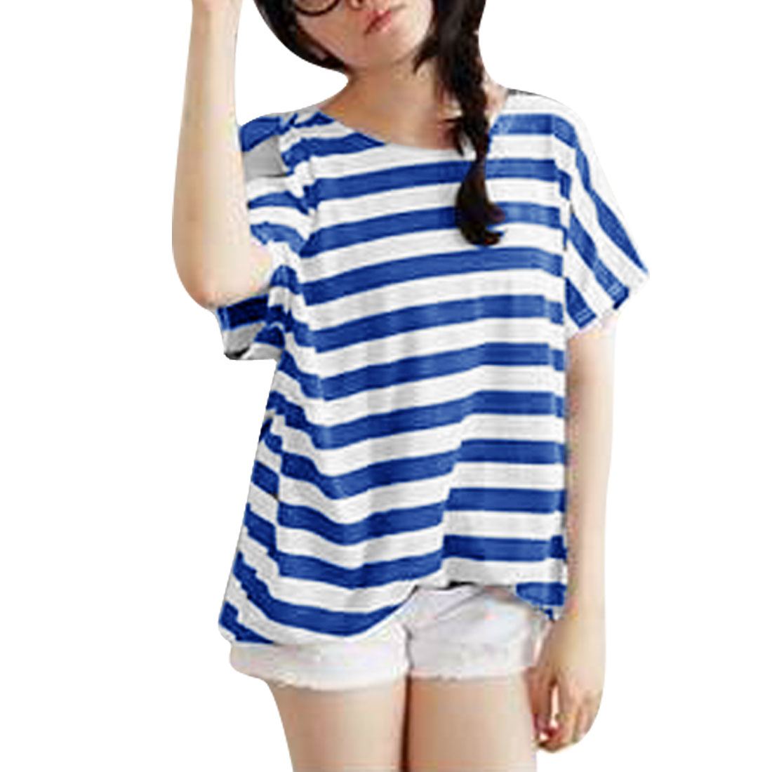 Women Korea Fashion Short Dolman Sleeve Stripes Prints Royalblue White Top M