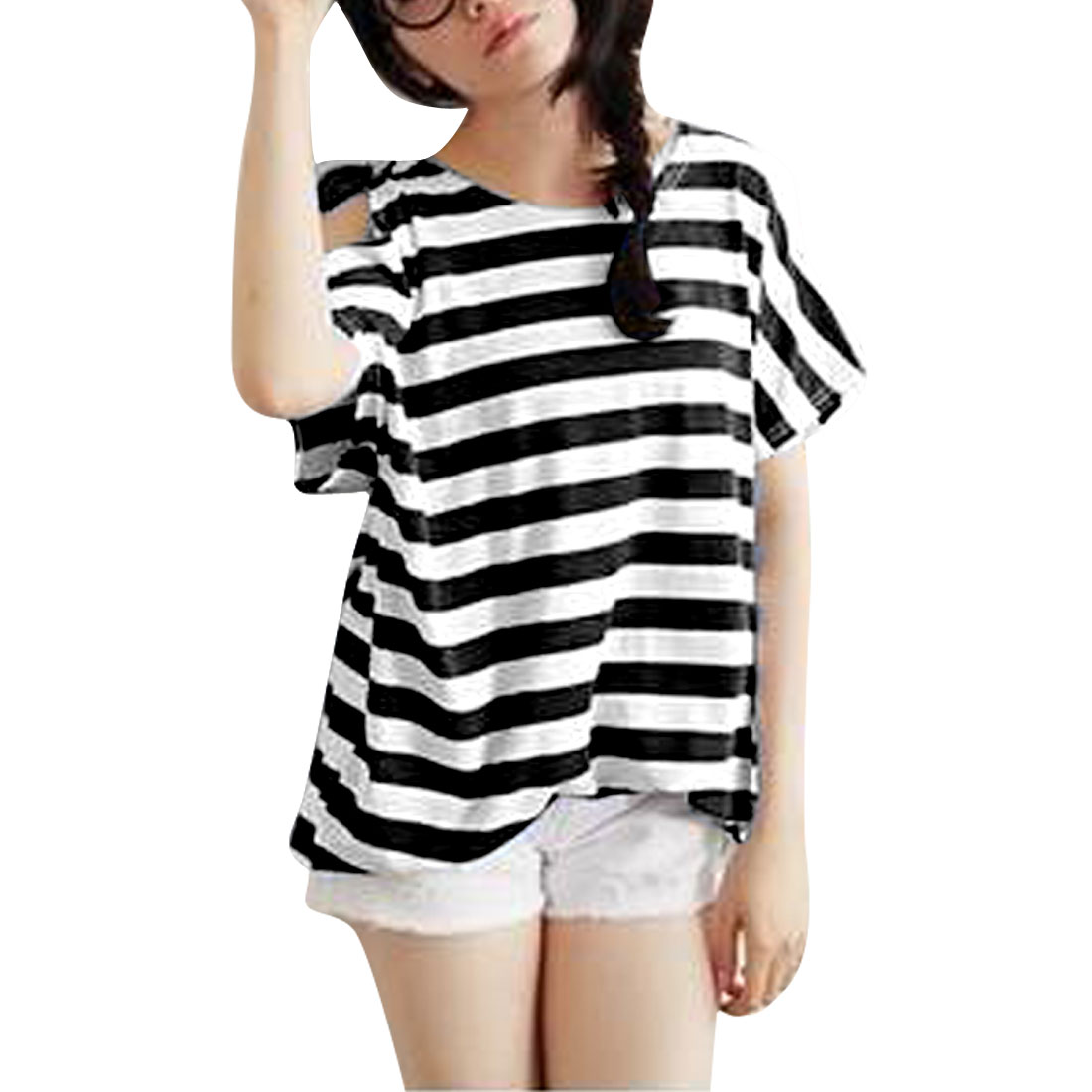 Ladies Short Dolman Sleeve Stripes Pattern Cutout Shoulder Black White Shirt M