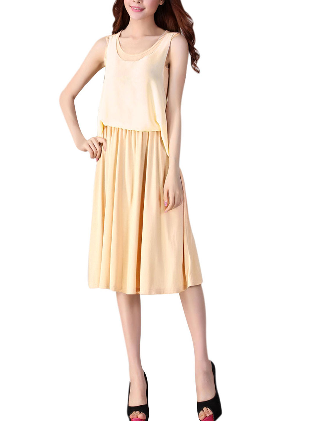 Lady Pullover Leisure Loose Pleated Apricot Tank Dress XS