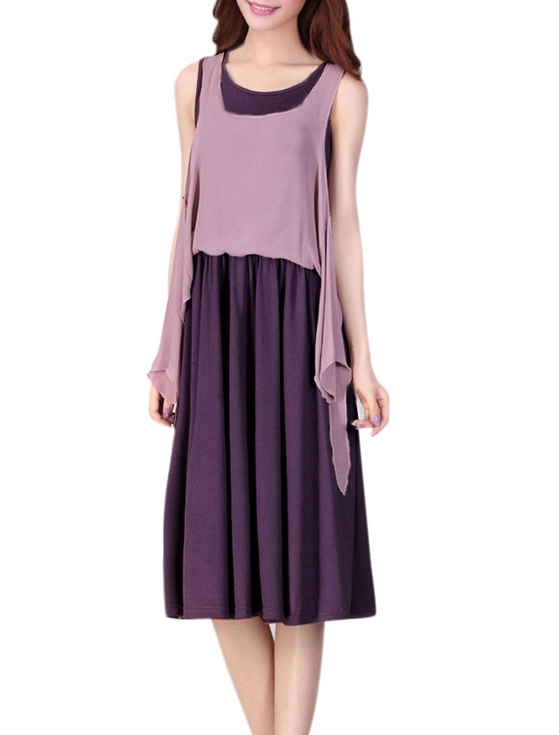 Lady Fashion Sleeveless Chiffon Splice Design Tank Dress Dark Purple XS