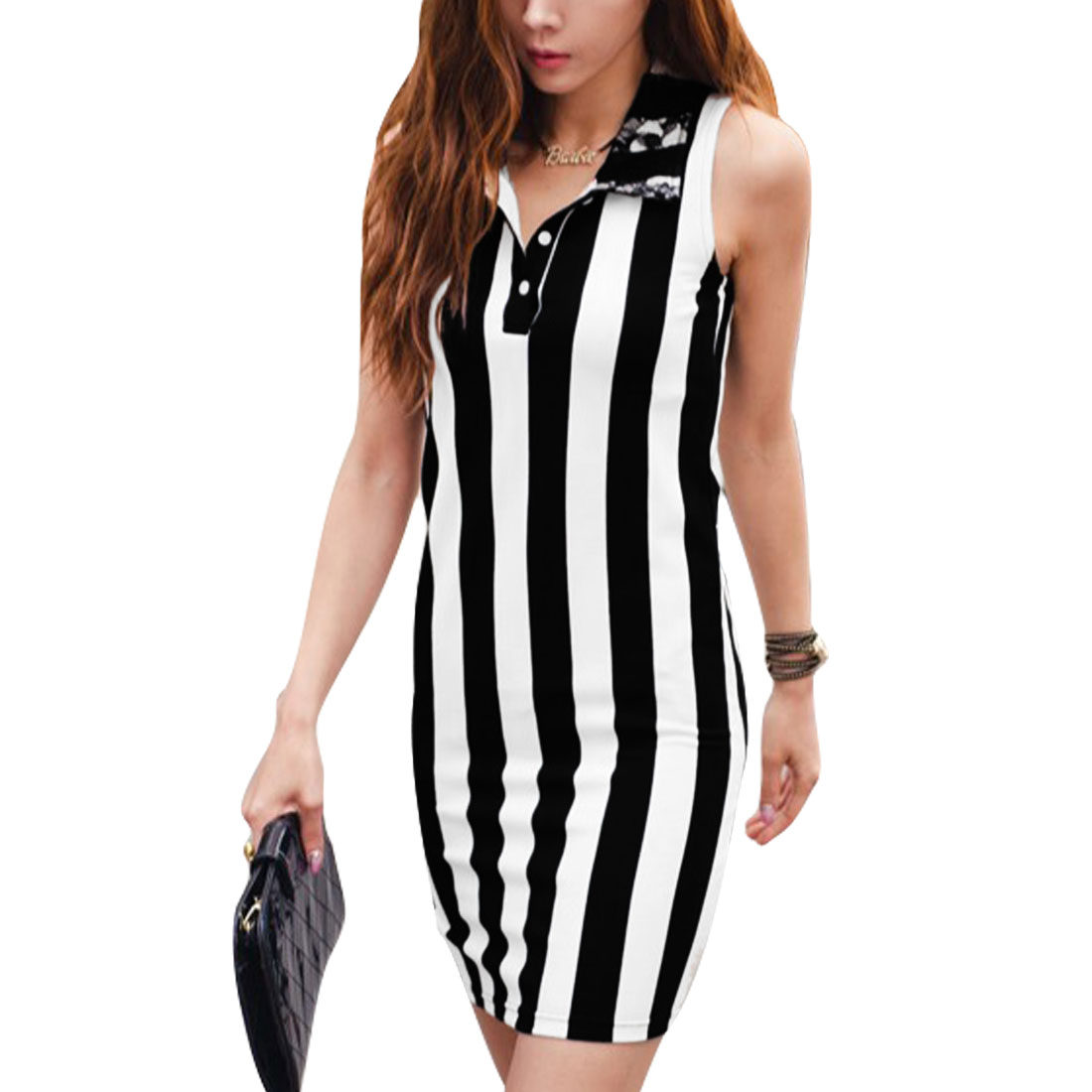Women Black White Xs Stripes Pattern Slim Fit Point Collar Sleeveless Dress