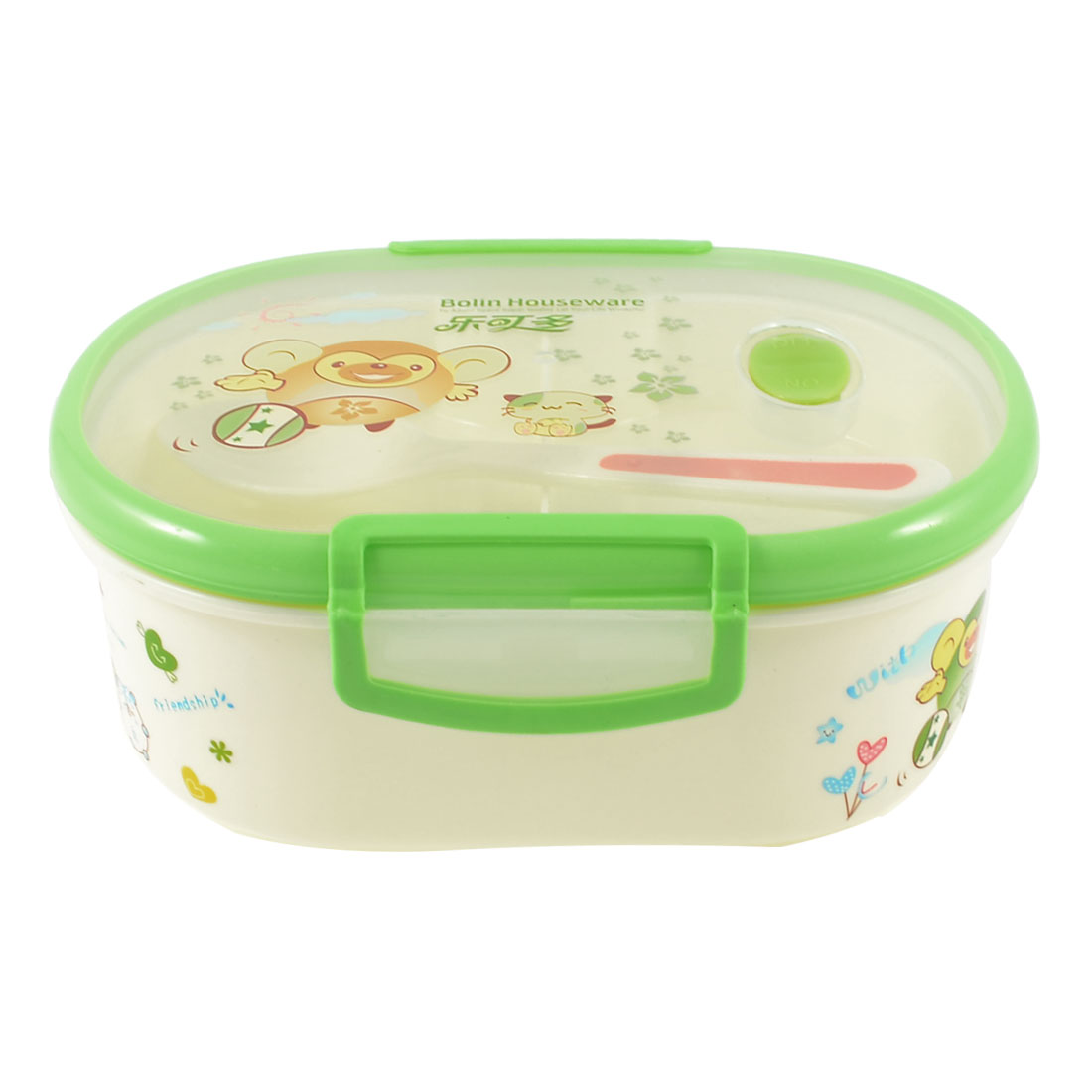 Camping Hole Design 3 Compartments Oval Dinner Case Lunch Box Pale Green