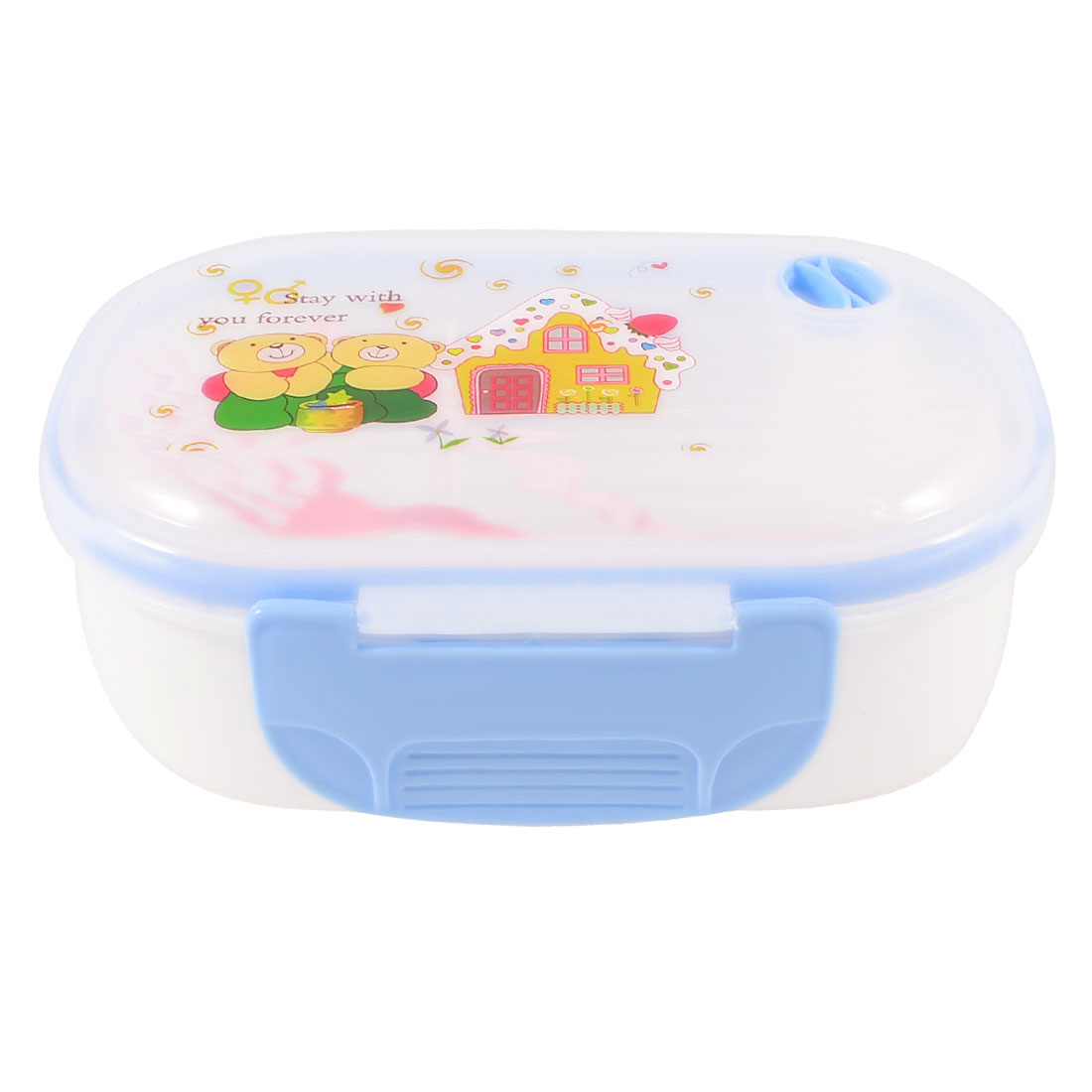 Household Cartoon Print Hole Design 2 Compartments Lunch Box Blue w Spoon Fork