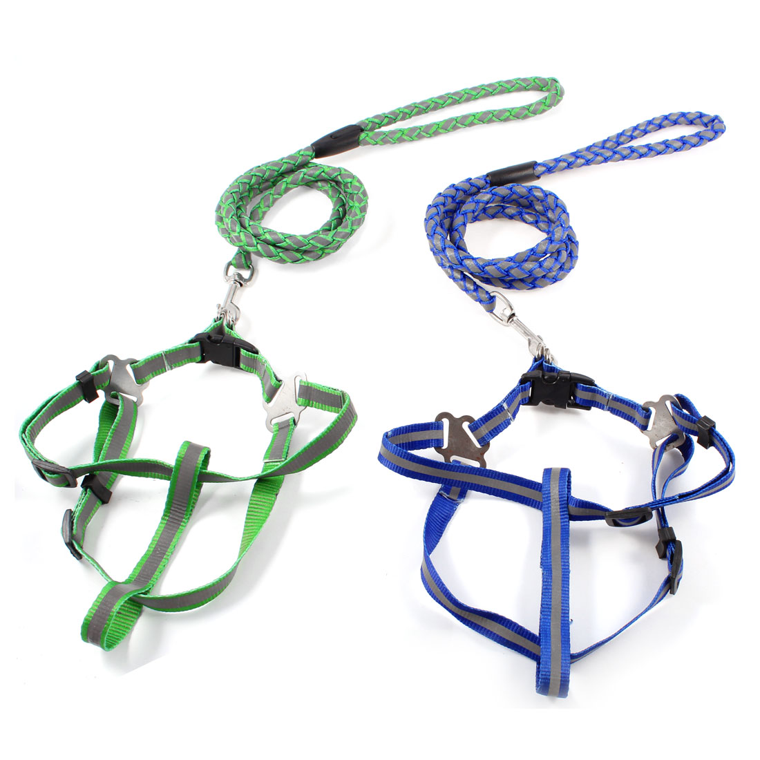 2 Pcs Adjustable Harness Reflective Pulling Traction Leash Tri Color for Pet Dog