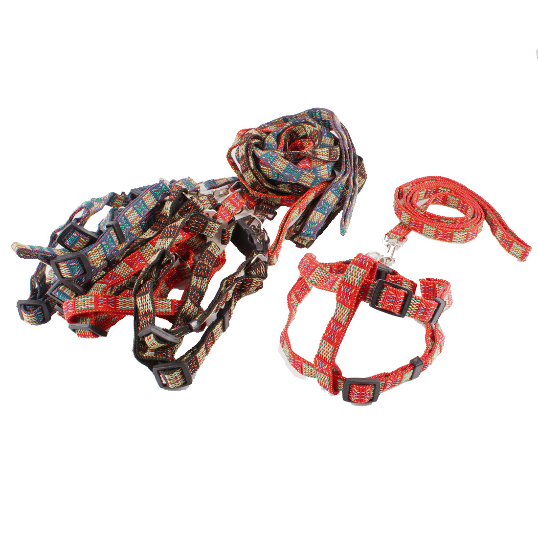 Assorted Color Braided Strap Doggie Dog Collar Halter Harness Leash 6 Pcs
