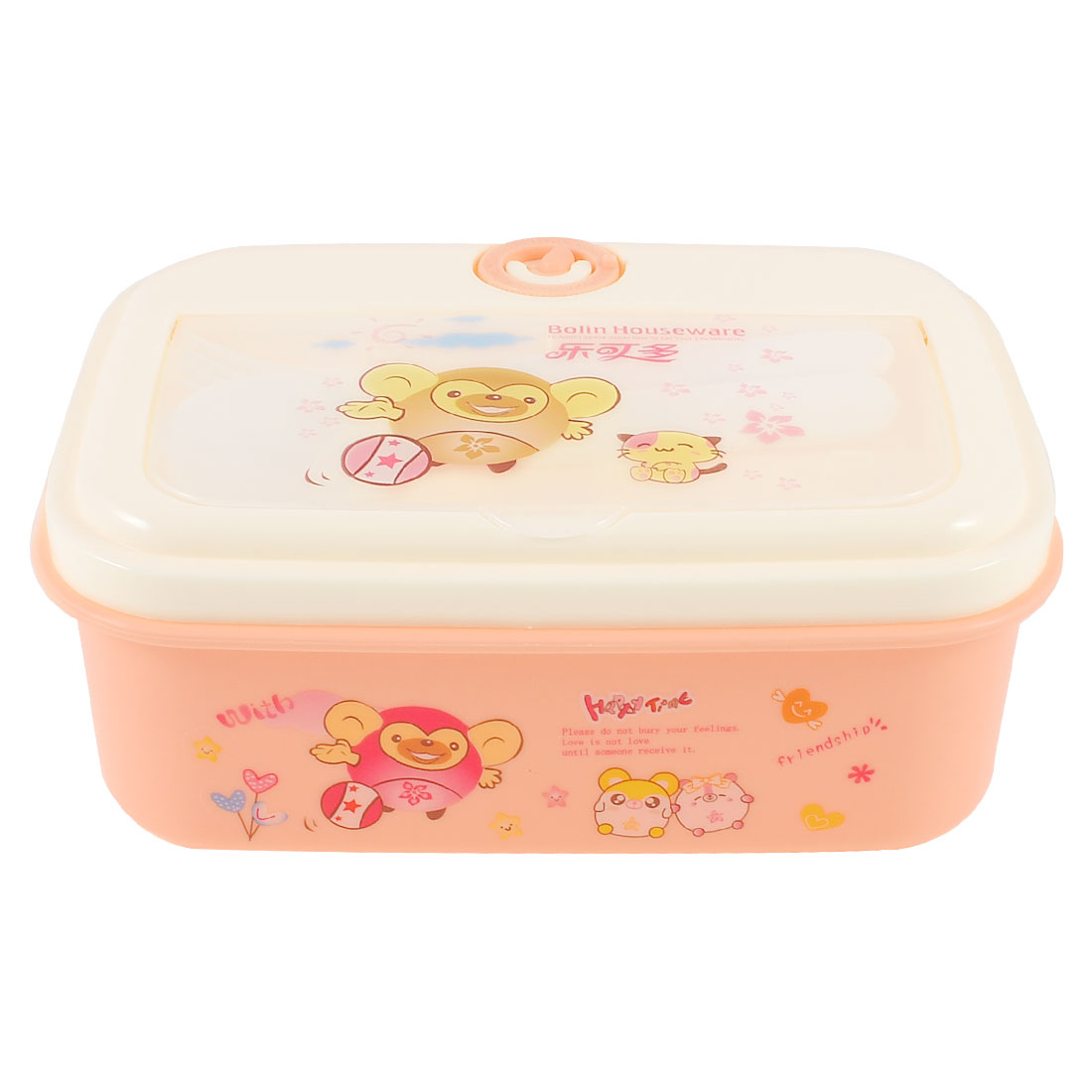 Household Cartoon Printed Rectangle Lunch Box Food Holder Container Light Pink