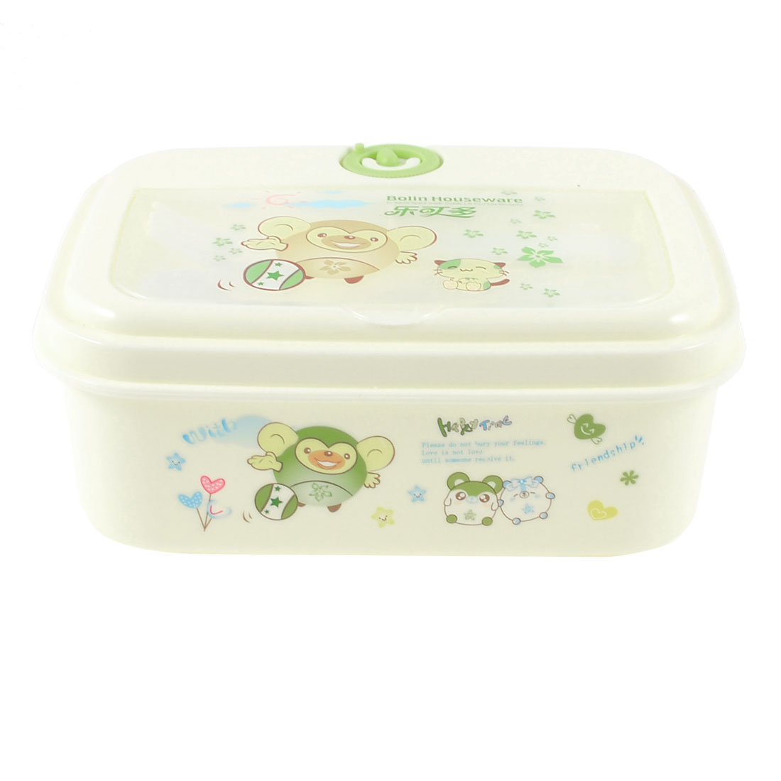Home Kitchen Cartoon Printed Hole Design Lunch Box Green Off White w Spoon Fork