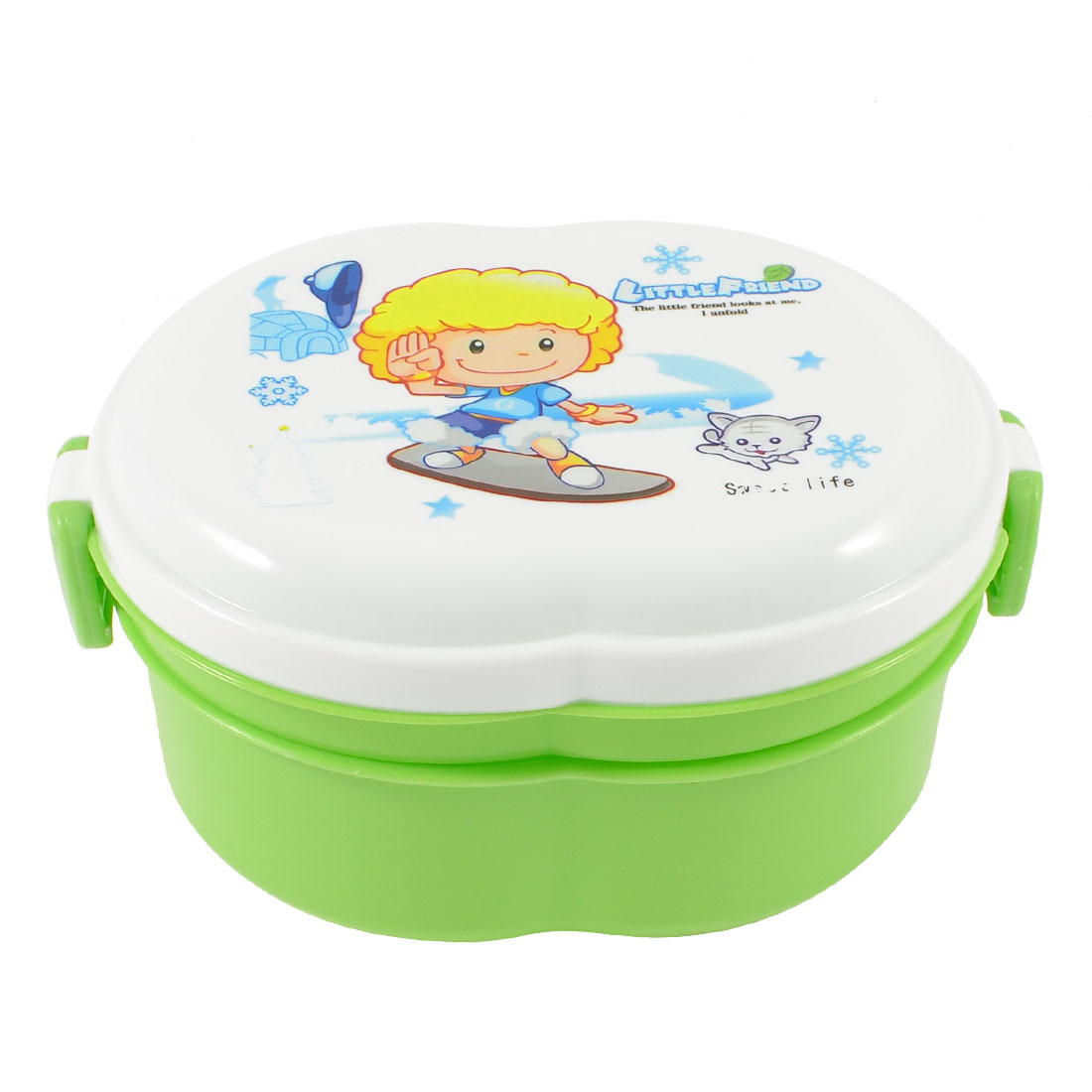 Portable Cartoon Child Print Green Lunch Box Case Food Holder Container