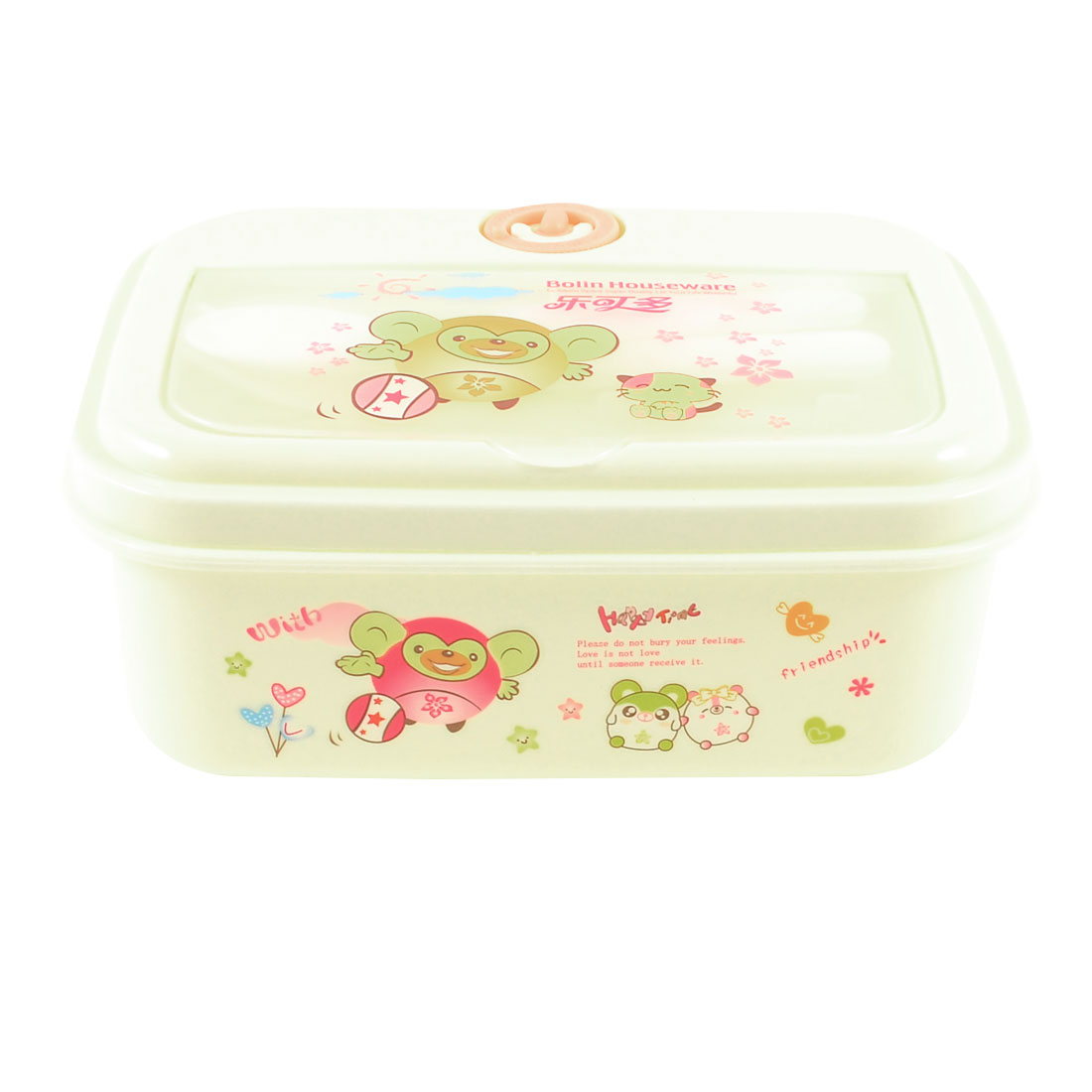 Camping Travel Cartoon Animals Printed Plastic Spoon Fork Off White Lunch Box