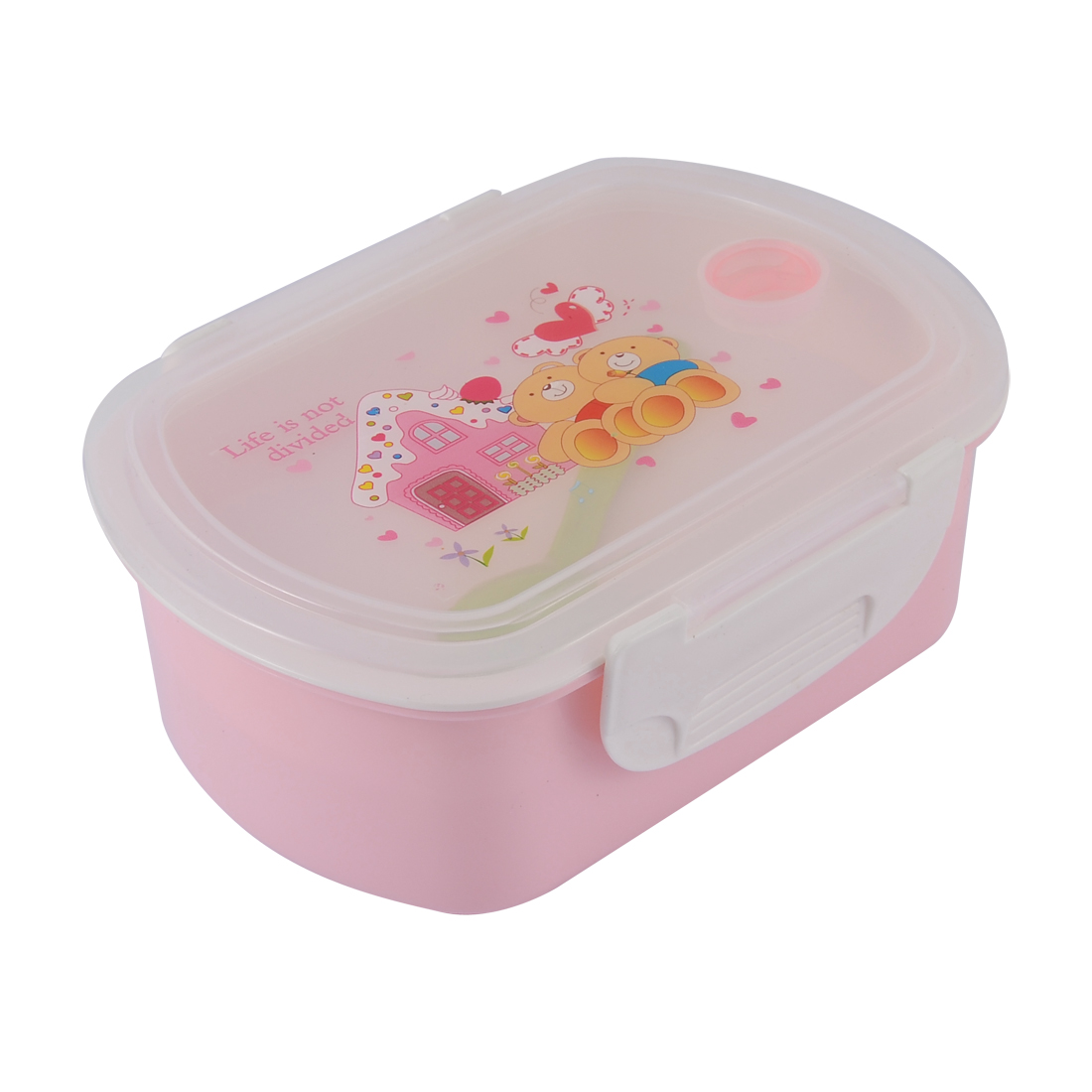 Travel Picnic Cartoon Pattern 2 Compartments Lunch Box Light Pink