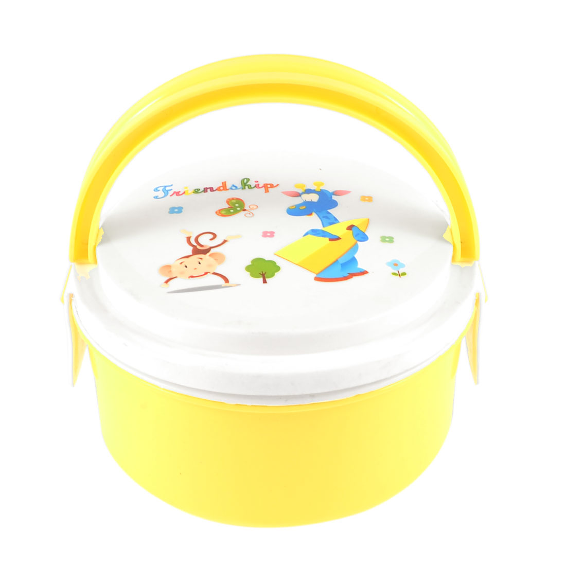 Camping Portable Plastic Handle Animals Printed Round Lunch Box Yellow White
