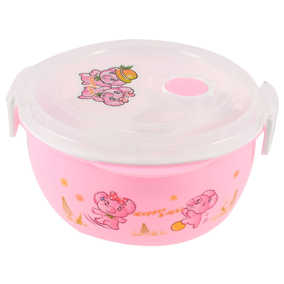 Picnic Camping Hole Design Dual Layers Round Dinner Case Lunch Box Pink