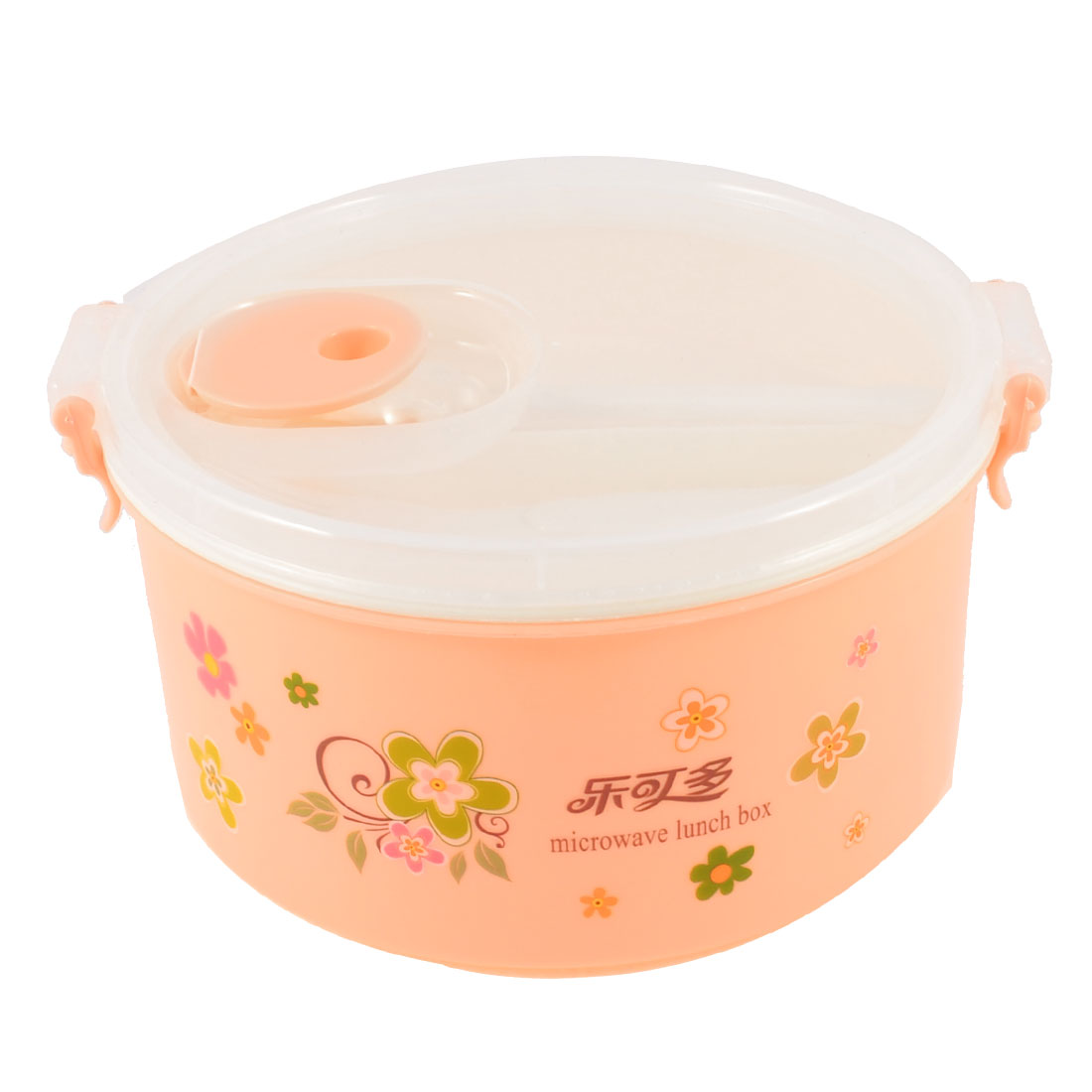 Home 3 Compartments 2 Layers Light Pink Clear Plastic Lunch Box w Spoon Fork