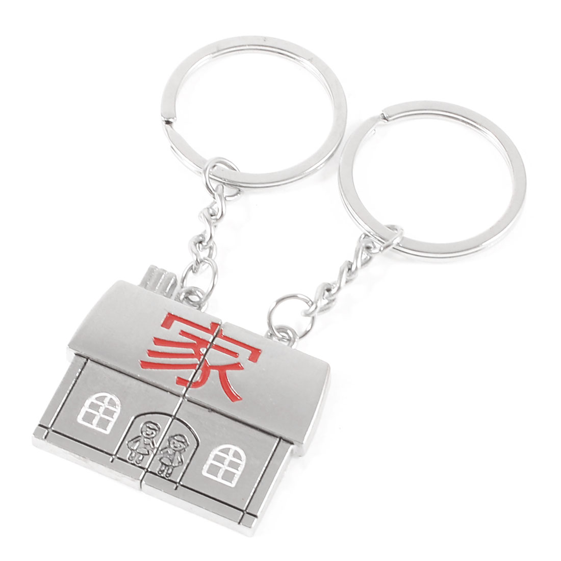 2 Pcs Metal Home Design Pendant Keychain Silver Tone for Lovers Couple