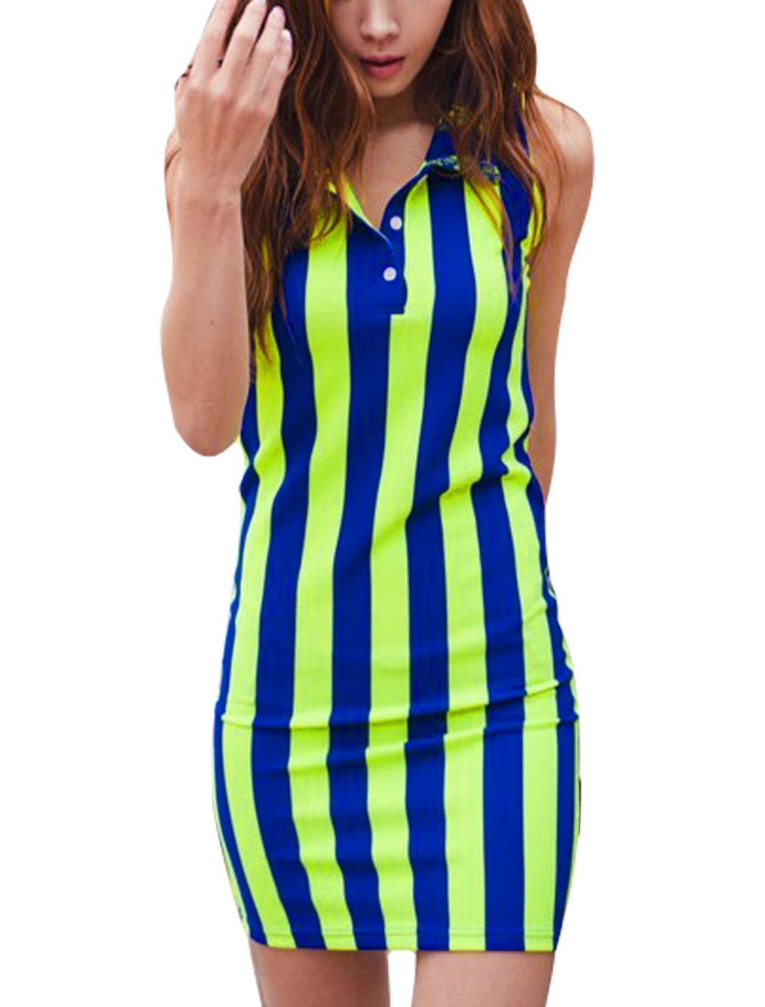 Women Stripes Sleeveless Point Collar Pattern Stretchy Dress Blue Lime Xs