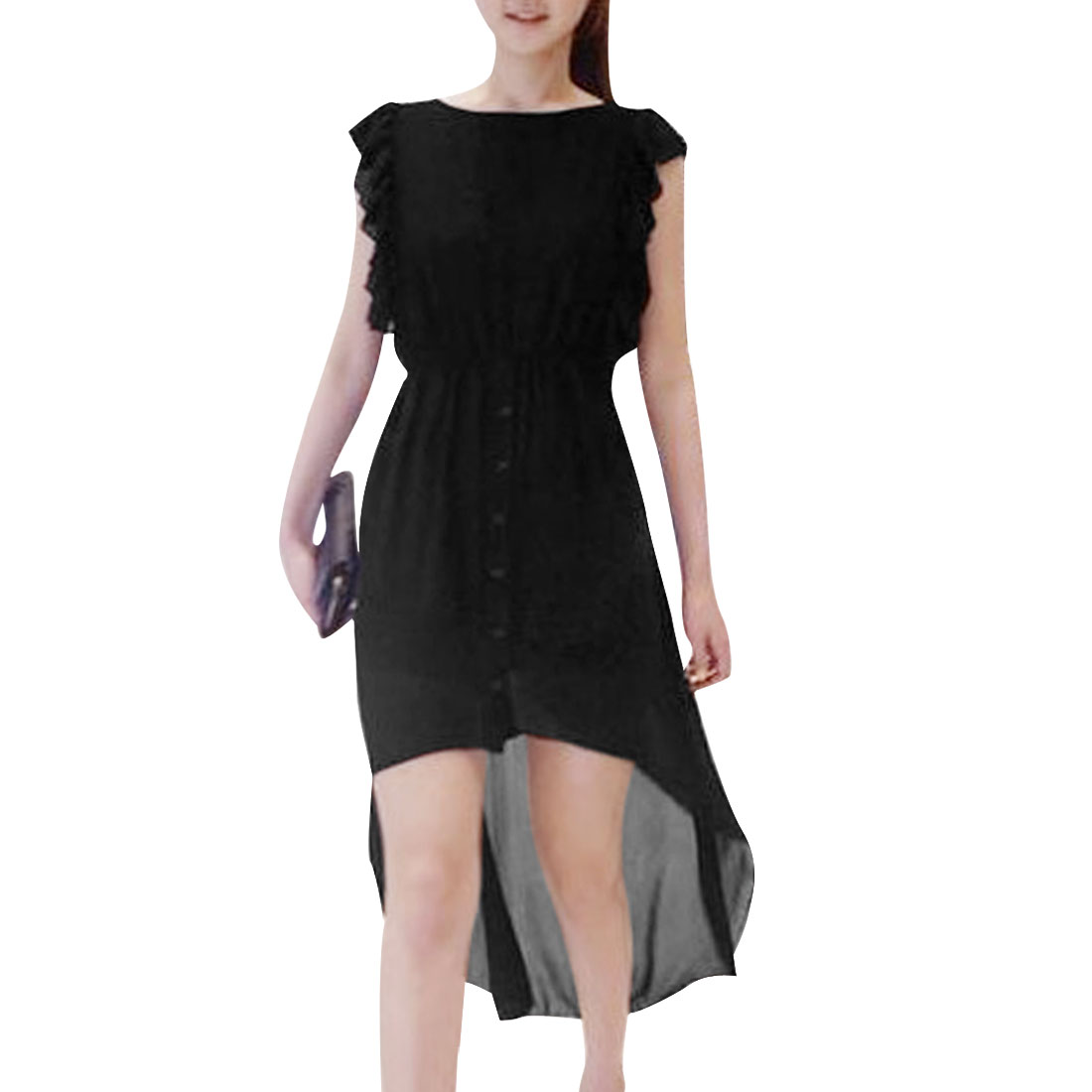 Women Black S Sleeveless High Low Hem Round Neck Stretchy Waist Dress