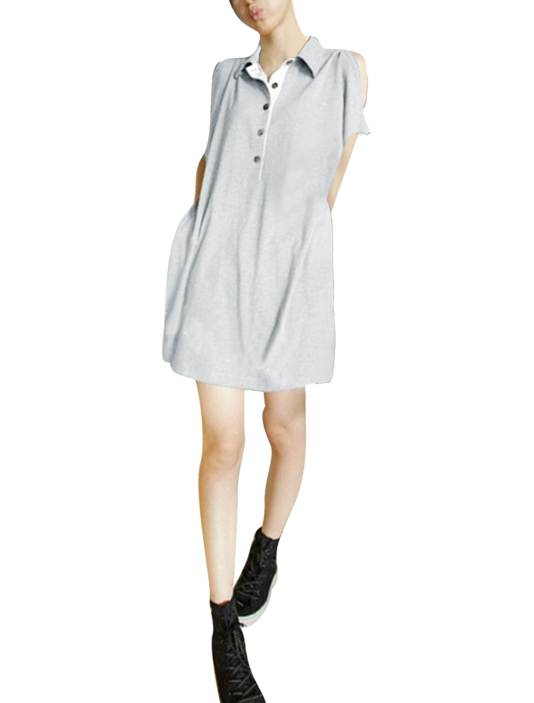 Women Batwing Sleeve Loose Point Collar Tunic Shirt Light Gray L
