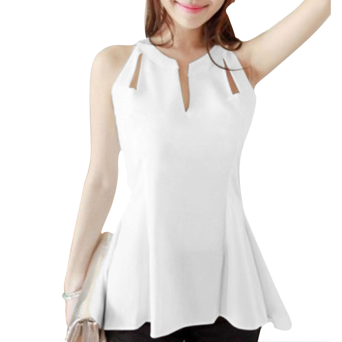 Women V Neck Sleeveless Semi Sheer Form-fitting Pure Blouse White S