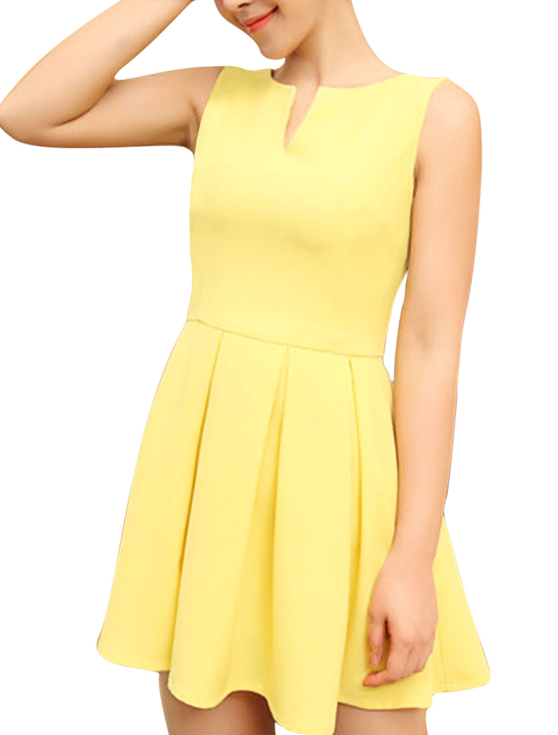 Women Sleeveless Form-fitting Split Neck Casual Summer Dress Yellow S
