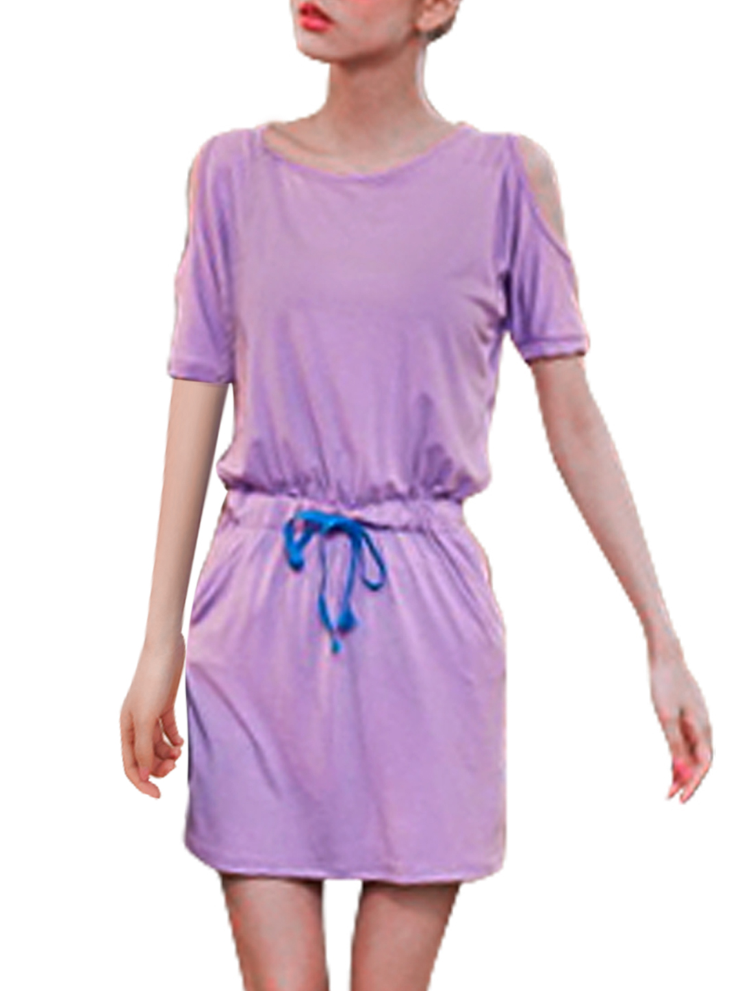 Women Round Neck Short Dolman Sleeve Cutout Shoulder Lavender Mini Dress S