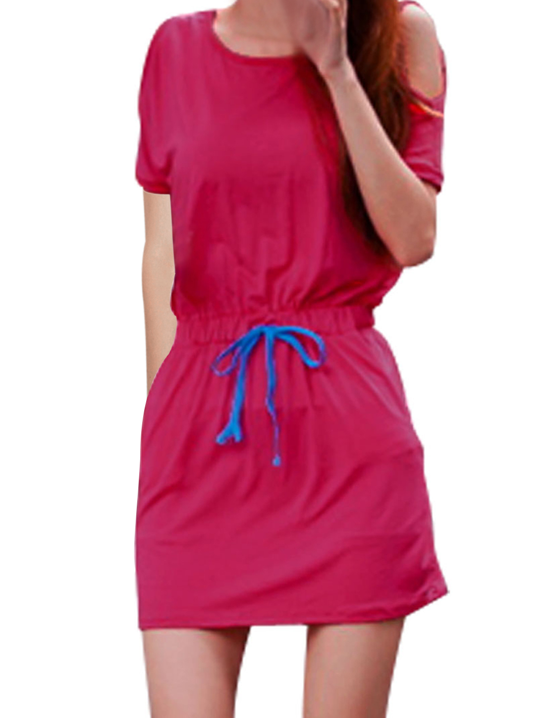 Lady Round Neck Dolman Sleeve Drawstring Waist Fashional Fuchsia Mini Dress S