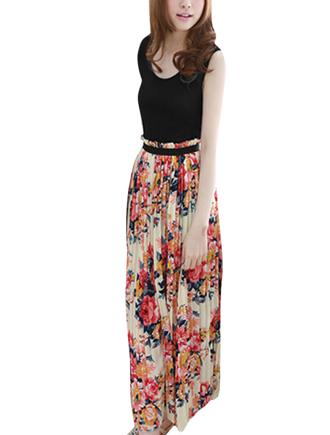 Lady Leisure Scoop Neck Floral Pattern Multicolor Tank Dress XS