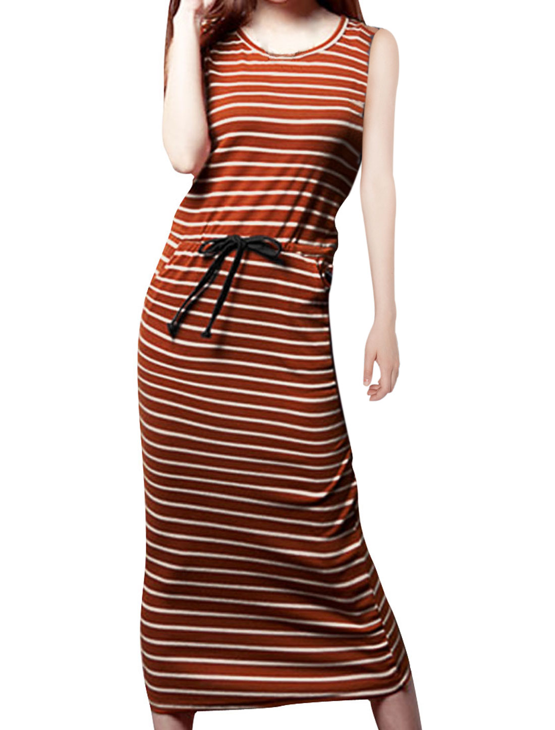 Ladies Round Neck Pockets Sleeveless Straight Elegant Dress Dark Orange XS