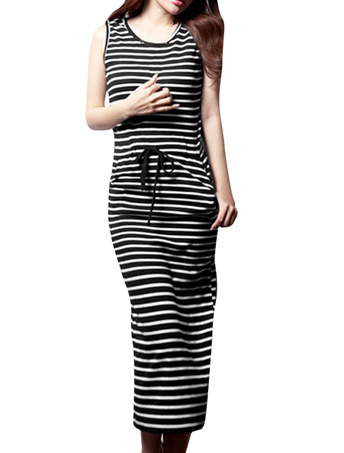 Women Stripes Prints Self Tie String Sheath Modern Dress Black XS