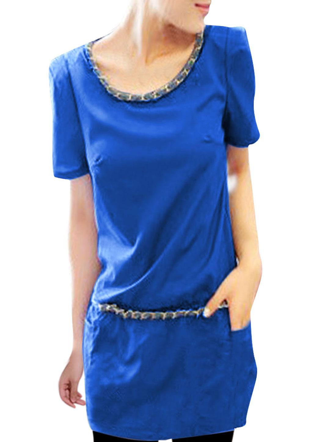 Women Chiffon Short Sleeve Chains Design Leisure Dress Sky Blue S